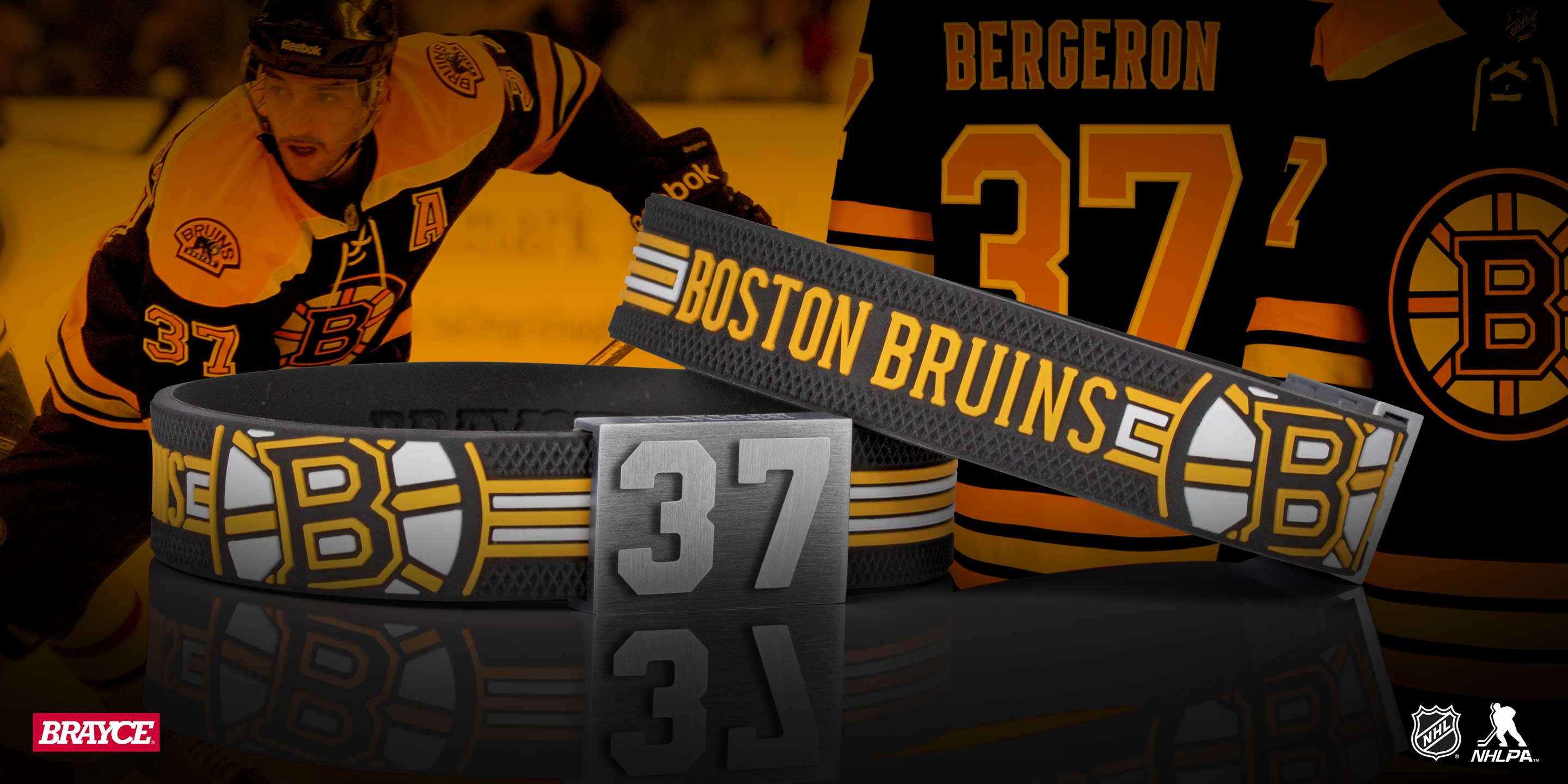 Boston Bruins braclet with a hockey puck haptic
