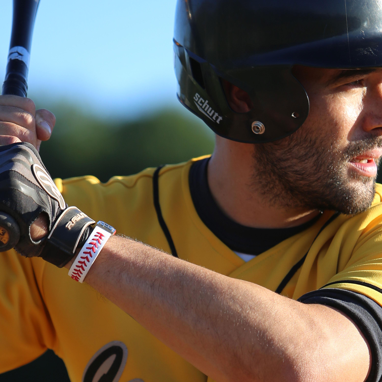 baseball bracelet worn by a butter
