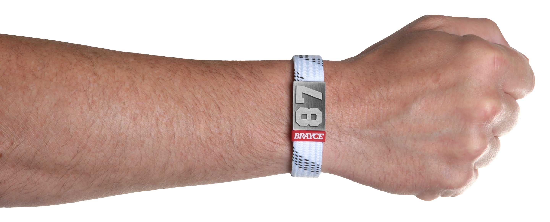 hockey lace bracelet white numer 87