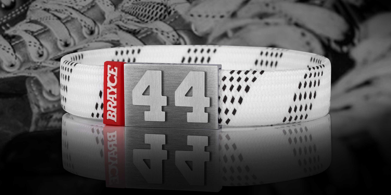 hockey lace bracelet white number 44